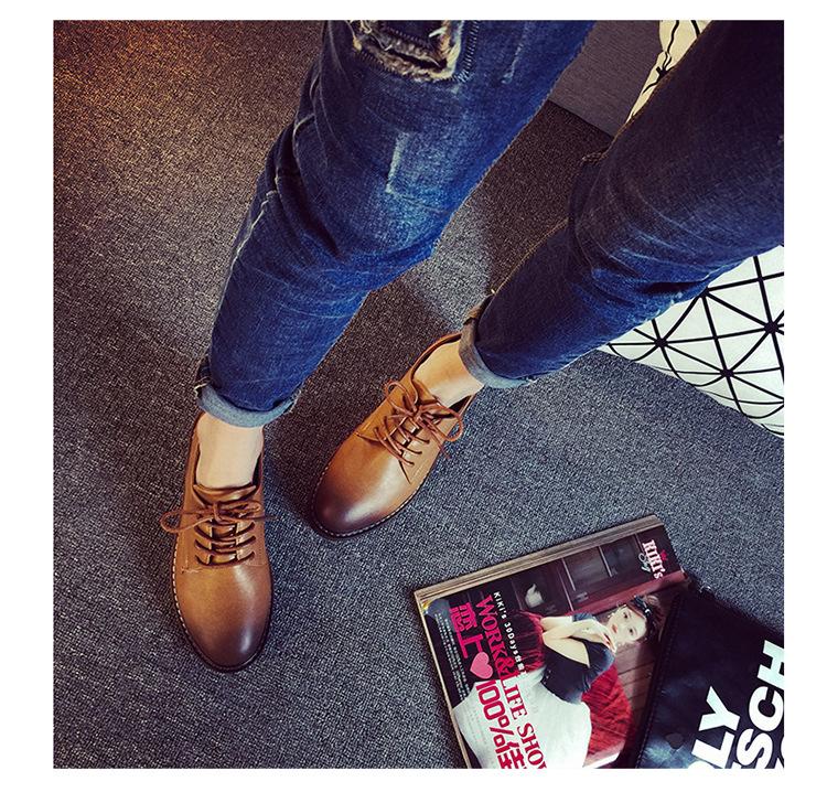 Meigel Brand Autumn Women Platform Shoes Woman  Patent Leather Flats Lace Up Footwear Female Flat Oxford Shoes For Women 358