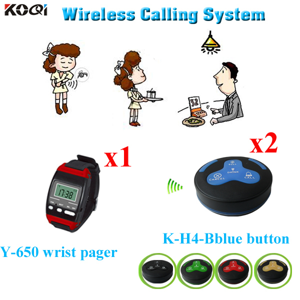 Wireless Call Bell System For Executive Dining Rooms 433.92mhz 1pc Watch Pager 2pcs Table Bell Buzzer(China (Mainland))