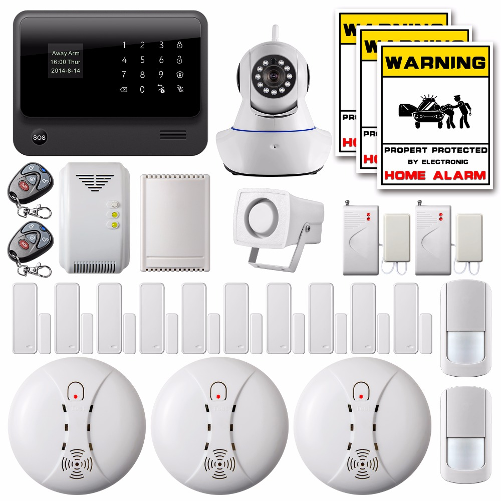 DHL/EMS Free Shipping Wireless LCD Wifi Home Security Alarm System IOS Android GSM GPRS IP Camera Wireless Smoke/Gas Detector(China (Mainland))