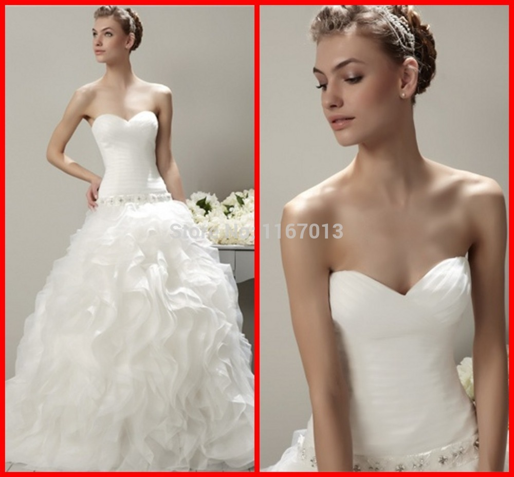 2015 romantic white tulle a line wedding dresses ruffles for Best bustier for strapless wedding dress