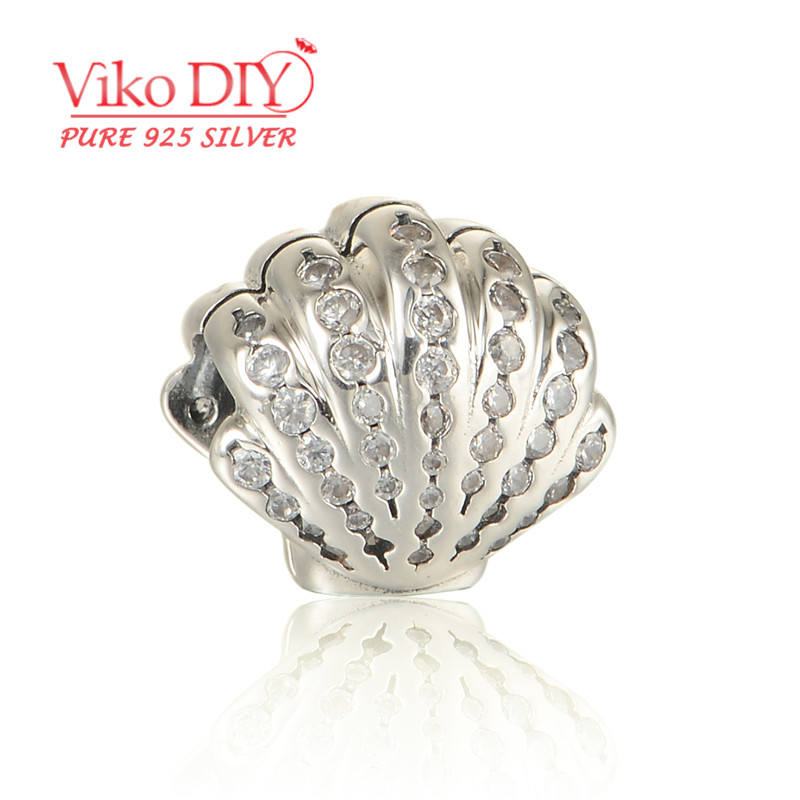 5pcs/lot Wholesale Crystal Cubic Zirconia Sterling Silver Shell Charms For European Snake Bracelets Diy Viko Jewelry LW593