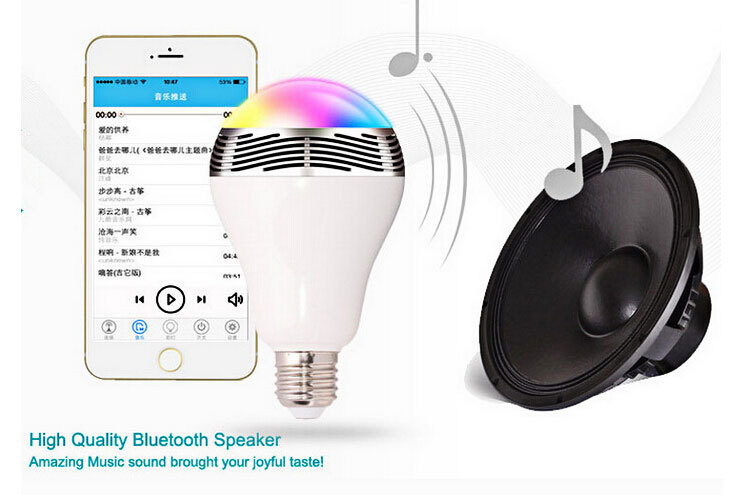 Wireless 12W Power Bluetooth LED Speaker light Bulb 4.0 Smart lamp RGB Lighting with cellphone controlled Bulb for Smartphones(China (Mainland))