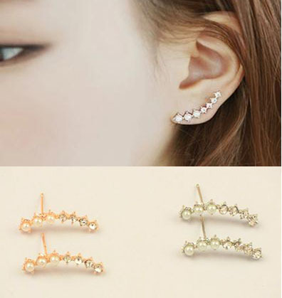 2015 New Arrival Pearl Simple and sweet Arc Shape Earrings Pearl Ear Stud Earrings For Women 702KKE(China (Mainland))