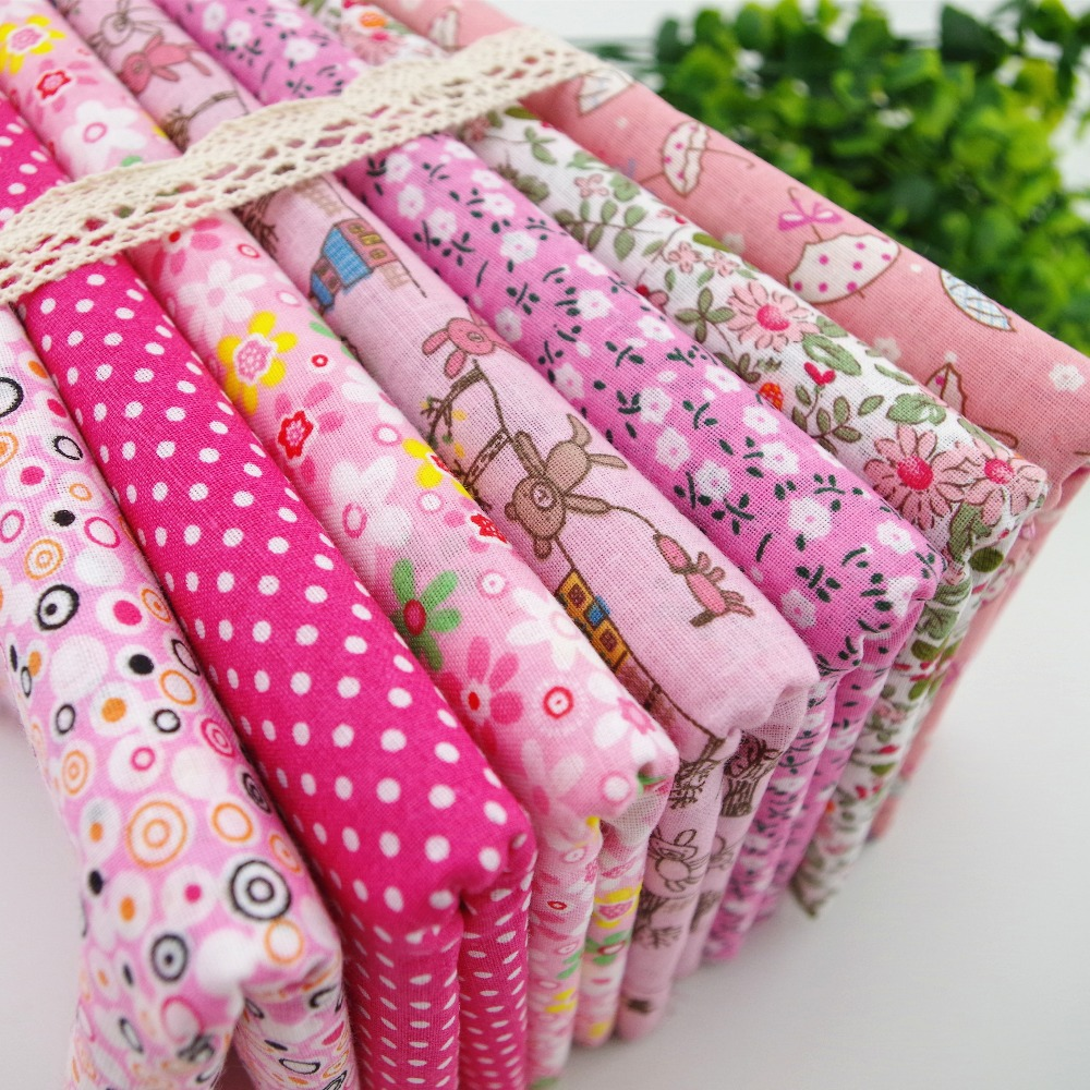100% Cotton fabric Patchwork cloth textile for sewing tilda shabby chic Pink Floral Dot 45CM*50CM 7pcs/lot Fat quarter(China (Mainland))