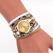 High Quality Multilayer Woven Leopard Geneva Bracelet Wristwatch Women Dress Watches Luxury Brand Quartz Watch