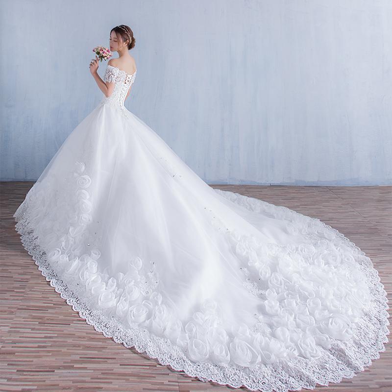 2016 bridal off the shoulder long train wedding dreses for Short wedding dress with long train