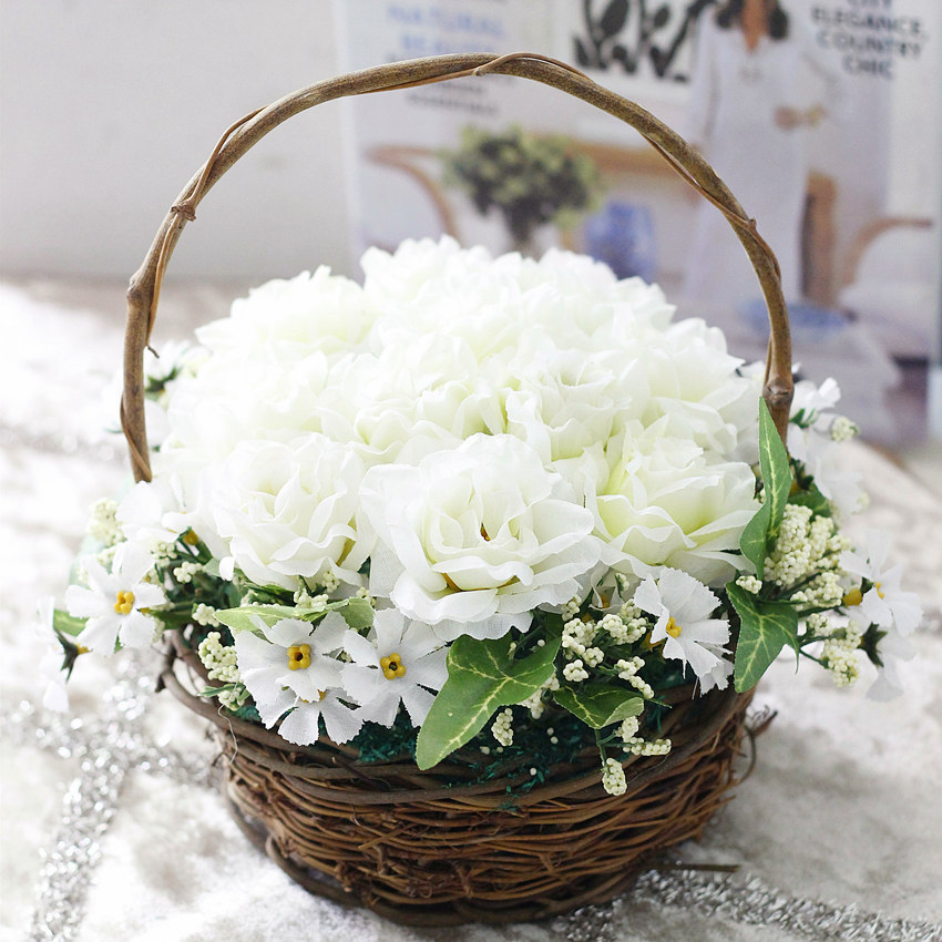 1 x Artificial Rose Flower Home Outdoor Decor Wedding Decorative Flowers With Storage Basket Vase(China (Mainland))