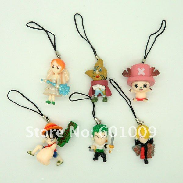 Free Shipping EMS 100/Lot 8PCS New One Piece Figure Figures Strap for Cell Phone iPod MP3 Wholesale(China (Mainland))