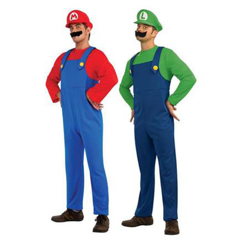 Halloween Cosplay Costume Super Mario Luigi Brothers clothes for adult men <br><br>Aliexpress