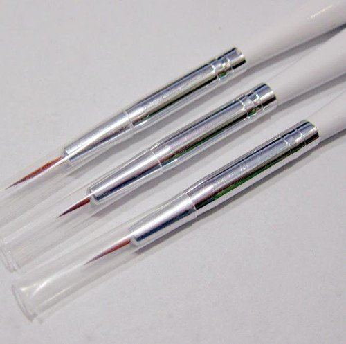 Wholesale 3pcs/set Nail Art Design Brushes Gel Set Painting Draw Pen Polish Brush set White Handle, 100set/lot + Free Shipping