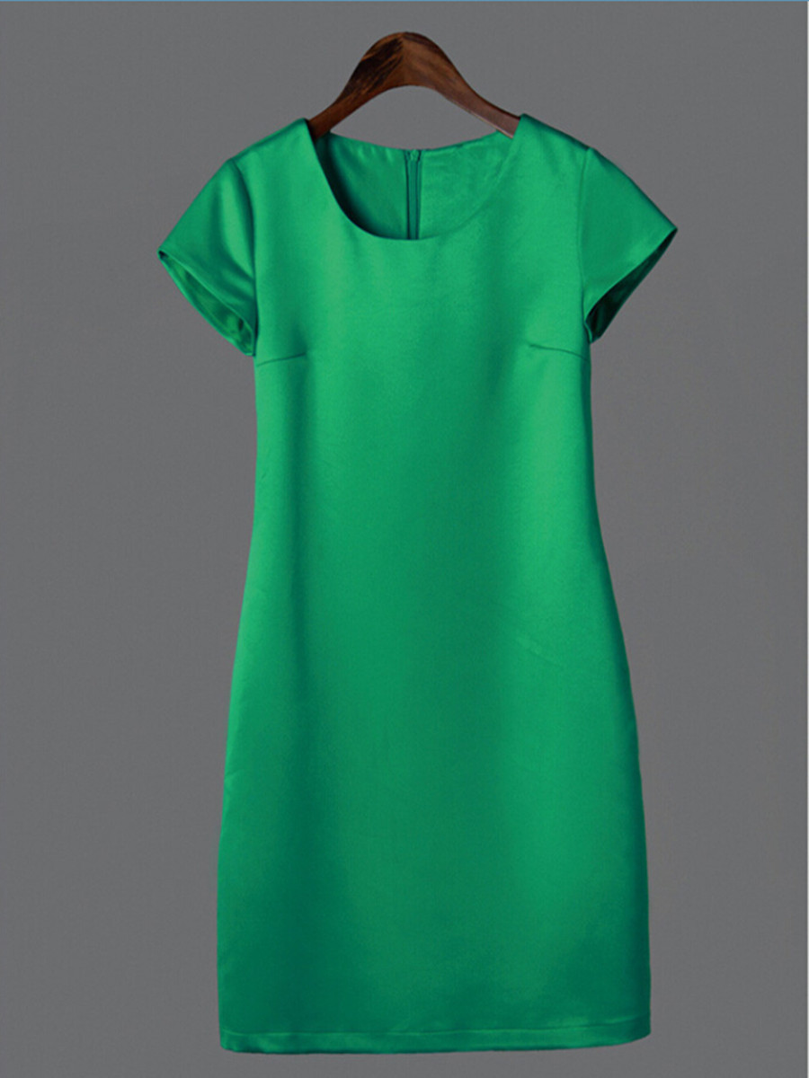 2015 summer Office work wear big size Women's vintage dress slim was thin High quality Pure Color summer casual dress S-3XL(China (Mainland))