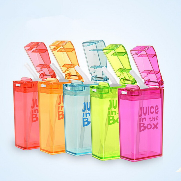 2015 NEW Children Plastic Tritan Children Sippy Cups Juice Box Outdoor Water Bottle Tritan Fruit Infuser Bottle W/PP Straw(China (Mainland))