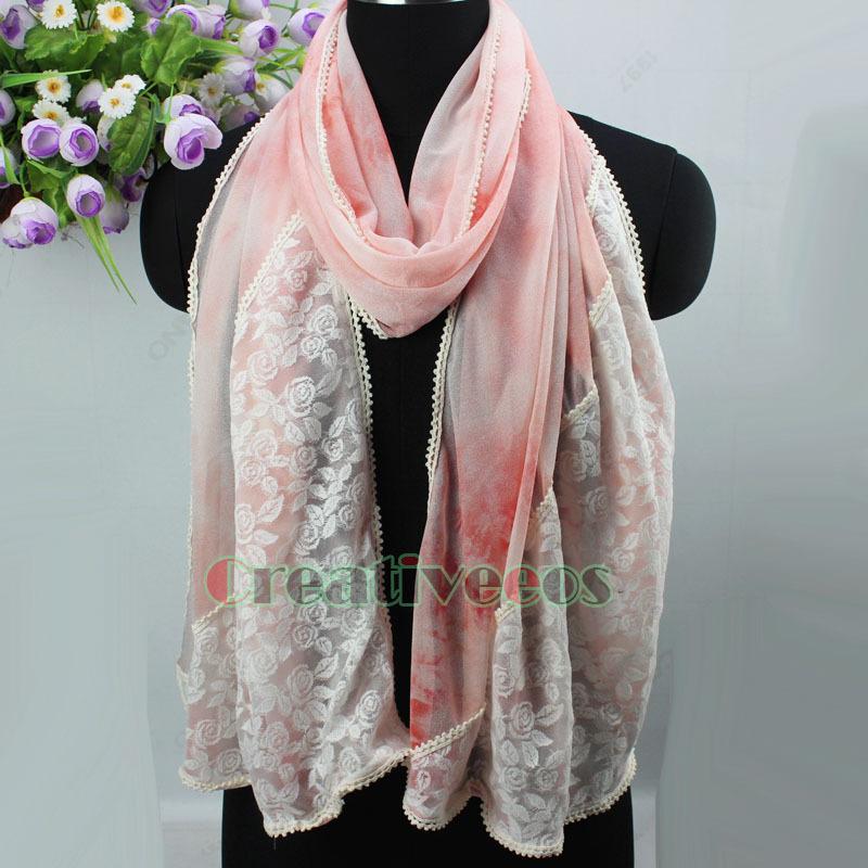 Elegant Fashion Women's Rose Floral Lace Graffiti Stitching Oblong Scarf Shawl Lace Trim Premium(China (Mainland))