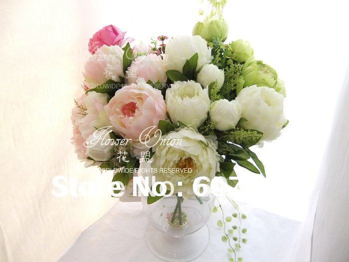 High quality peony bridal bouquet wedding party table for Artificial flowers for wedding decoration