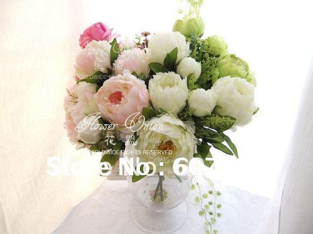 high quality peony,Bridal Bouquet,wedding party table centerpiece,Christmas home decoration silk artificial flower arrangement