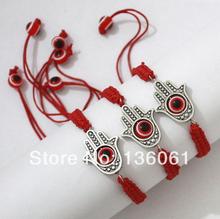 Fashion Vintage Silver  Hamsa Hand & Red Evil Eye Charms Bracelet  Bangle For Women Adjustable  Cord  DIY Jewelry 10pcs  P1515(China (Mainland))