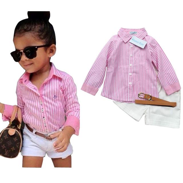 Европа и америка стиль мода комплект одежды дети розовый с длинным рукавом + брючный ...