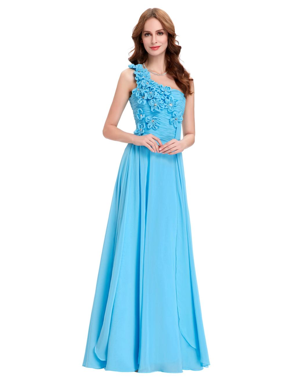 Online get cheap light blue bridesmaid dresses aliexpress for Long blue dress for wedding
