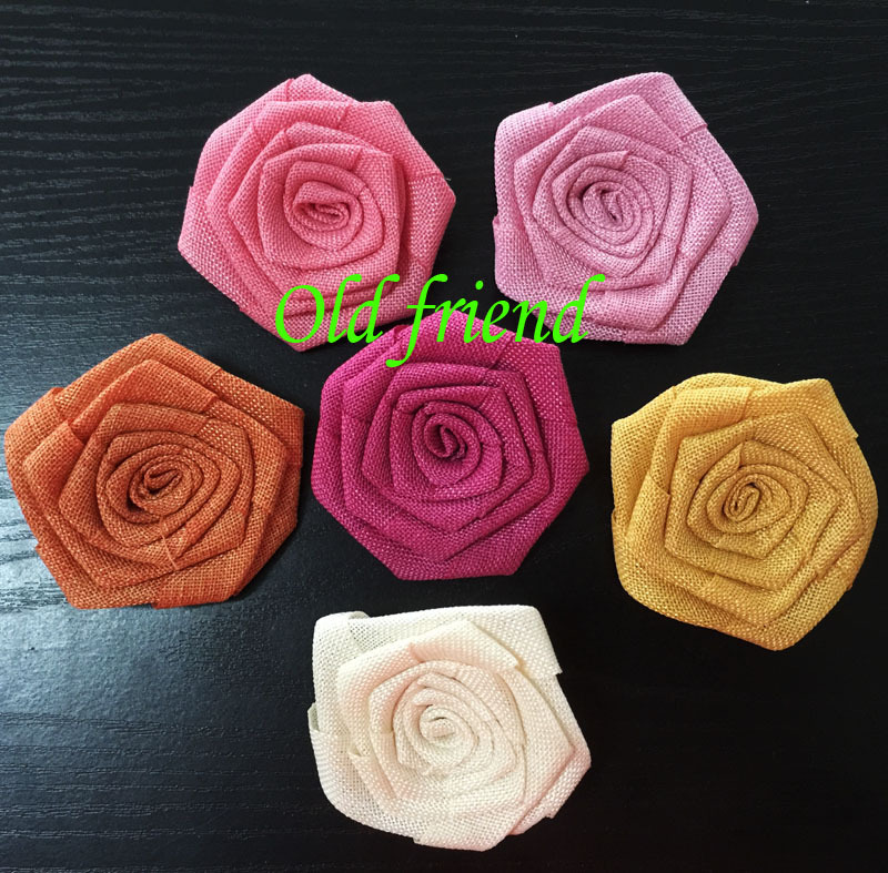 New Style Burlap Flowers DIY Fabric rosette flower For Headbands Clothing Dress 120pcs/lot 12 color free shipping(China (Mainland))