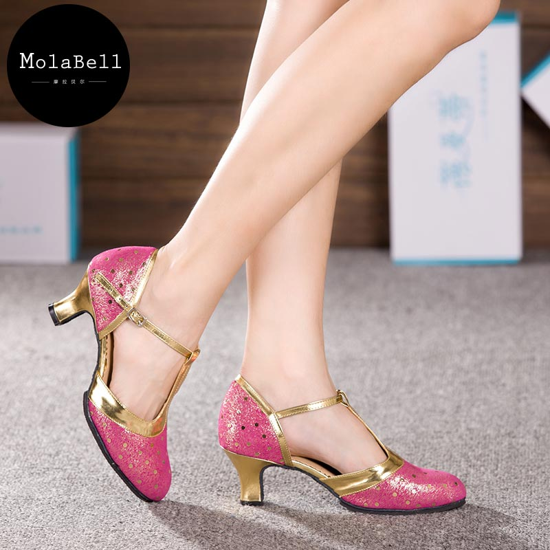 Rose  R ed Peacock FullGrain Leather Adult Mid Heel Latin Modern Dance Shoes Womens Ballroom Dancing Soft Comfortable 34-43size<br><br>Aliexpress