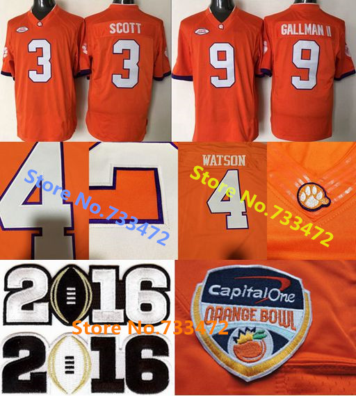 2016 Newest College Football Jerseys #3 Artavis Scott #9 Wayne Gallman Jersey Playoff Clemson Tigers Football Jersey Stitched Lo(China (Mainland))