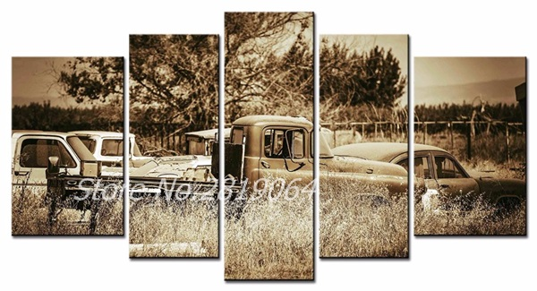 5Pcs/Set Frameless Canvas Wall Art Picture Vintage car Canvas Print Modern Wall Paintings Top Home Decoration(China (Mainland))