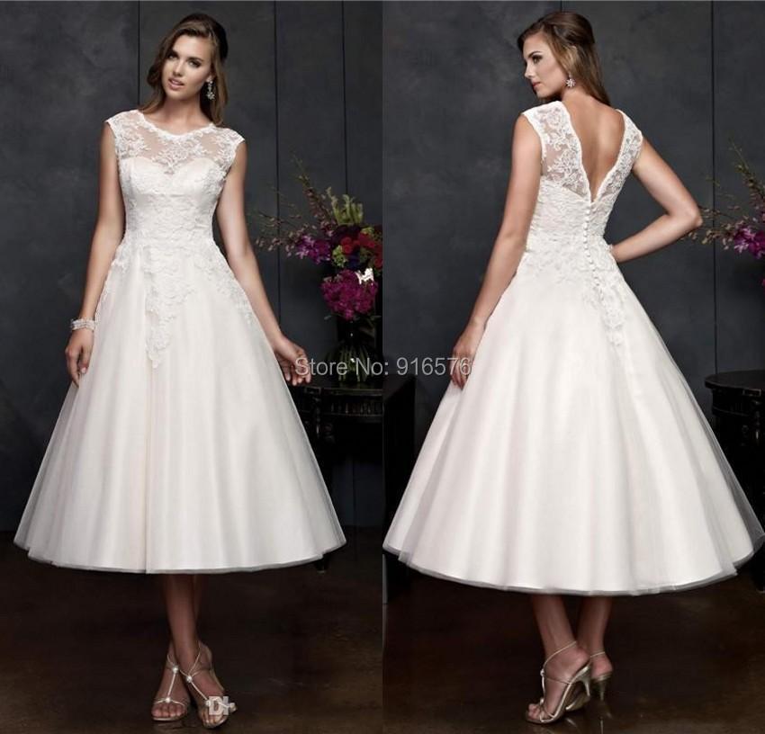 Buy vintage wedding dresses ivory lace for Ivory tea length wedding dress