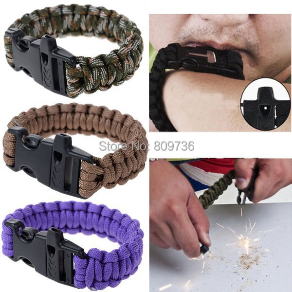 2015 New Useful Outdoor Survival with Flint Fire Starter Scraper Whistle Gear Kits Paracord Bracelet Men Women Jewelry Cheap(China (Mainland))