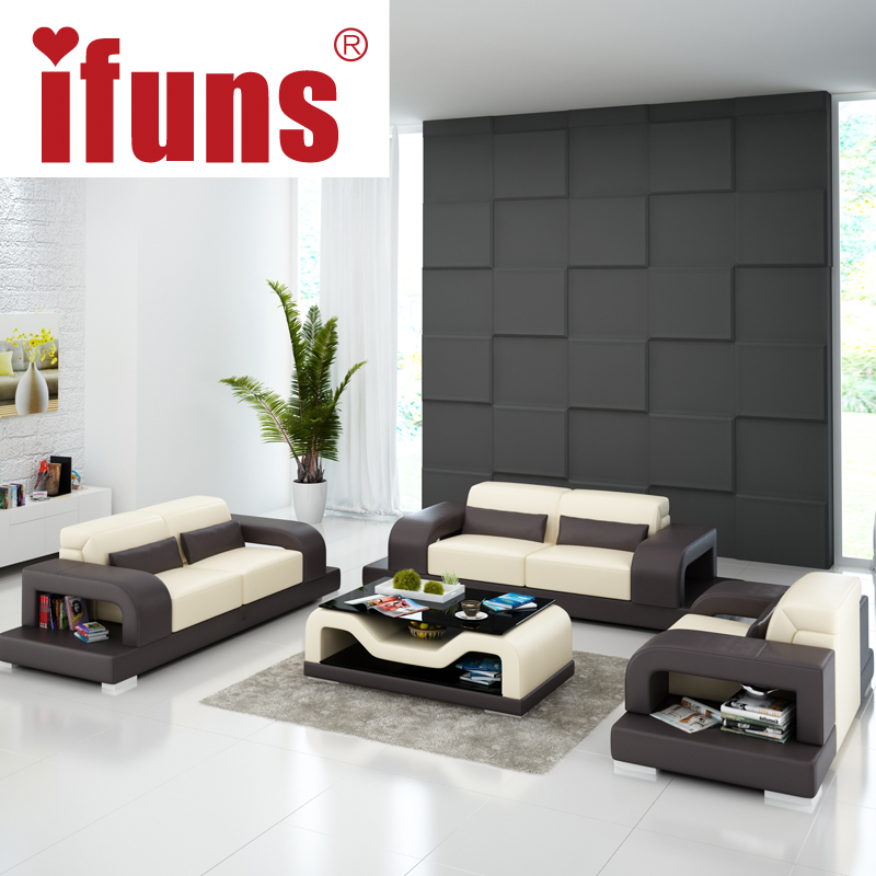 IFUNS black and white living room home furniture,top grain leather,large size 1+2+3 sectional sofa(China (Mainland))