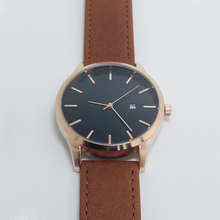 Rose Gold Watch Women No Name Brown Genuine Leather Watch Band Date Function Movement Japan