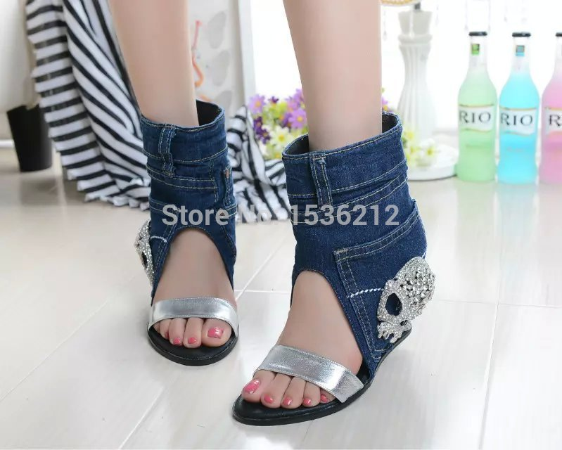 Здесь можно купить  Filigree Denim wedges rhinestone Sandals Ankle Strap Women Sandals High Heels Brand peep toe British gladiator sandals women Filigree Denim wedges rhinestone Sandals Ankle Strap Women Sandals High Heels Brand peep toe British gladiator sandals women Обувь