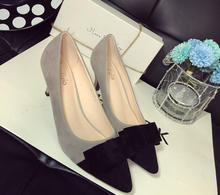 new 2015 sweet bowknot women shoes high heel Spell color Black color Women Pumps shallow mouth pointed high heels women's shoes