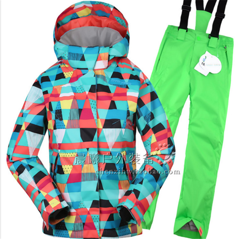2016 New Gsou Snow Kids Children Ski Suit Boys or Girls Ski Jacket+Pant Snowboard Kid Thicken Windproof Waterproof Suit Set(China (Mainland))