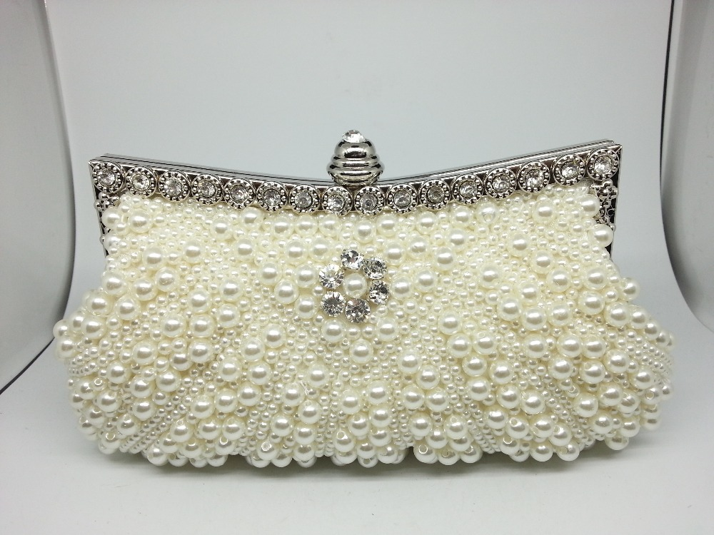 Synthetic Pearls Two Chains Shoulder Bags Women Pearl Party Clutches Wedding Beaded Handbags Evening Purses Clutch Bag Bolsas - Formen Garment Group store