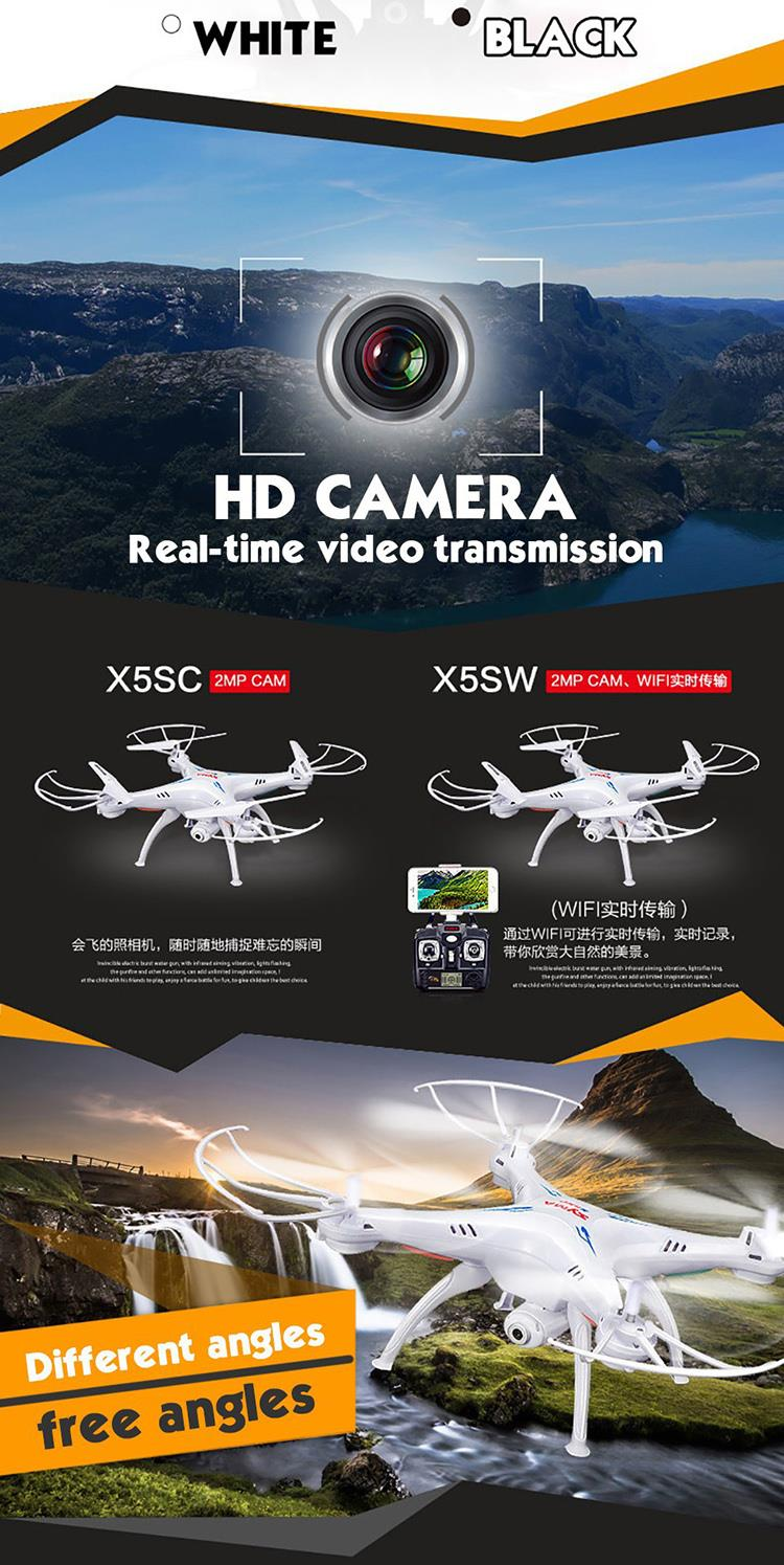 SYMA X5SW RC Drone With HD Camera 2 4G 6 Axis RC Helicopter Quadcopter WiFi Support