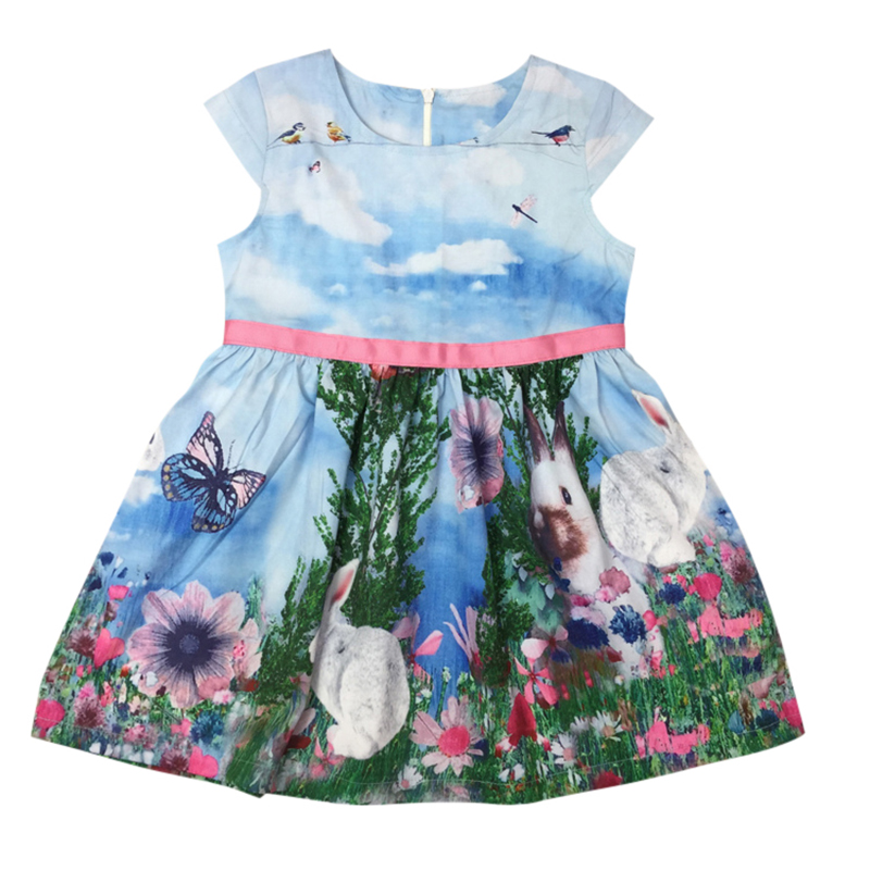 Summer Infant Kids Girl Princess Dress Sleeveless Print Vest Sundress 2-7Y Rabbit Pattern Tutu Dresses(China (Mainland))