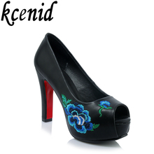 Buy New spring summer shoes woman pumps shallow mouth high heels peep toe wedding shoes embroidery platform shoes big size 42 black for $26.89 in AliExpress store