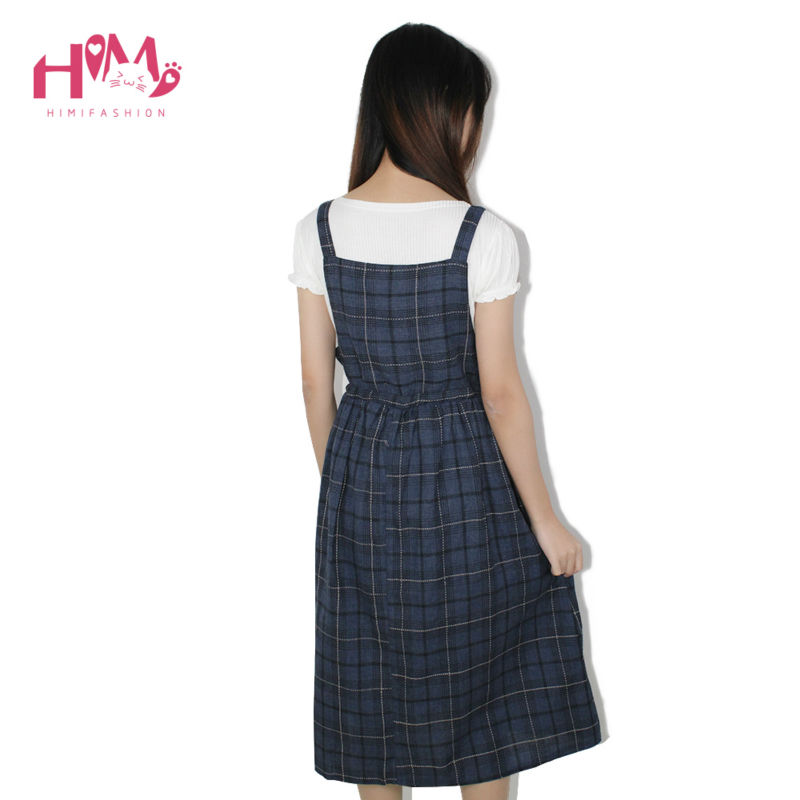 Vintage autumn new collection plaid non sleeve dress mori girl fresh square collar all match spaghetti strap women dress1