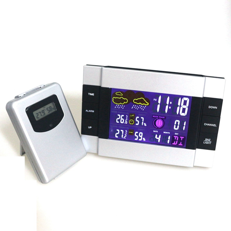 1pcs RF Wireless Weather Station Indoor Outdoor temperature humidity meter Alarm Clock with remote sensor Color Backlight