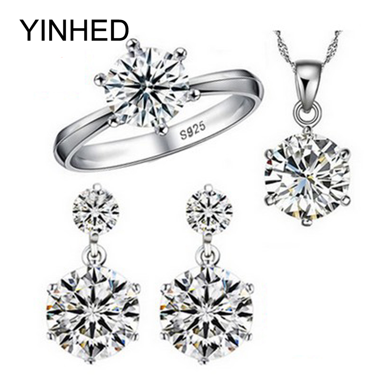 YINHED Hot Sale 925 Sterling Silver Bridal Jewelry Set 1ct Cubic Zircon CZ Wedding Necklace Earrings Ring Jewelry Sets ZS029(China (Mainland))
