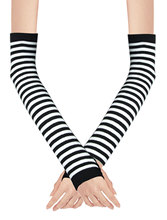 Winter Warm Black White Striped Long Fingerless Gloves(China (Mainland))