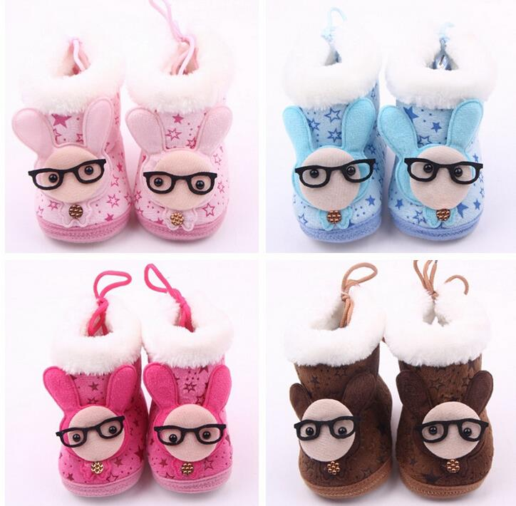 New Cute Lovely Baby Boys Girls Winter Warm Plush Shoes Big Eyes Rabbit Infant Toddler Snow Boots Booties Shoes Prewalker 12CM(China (Mainland))