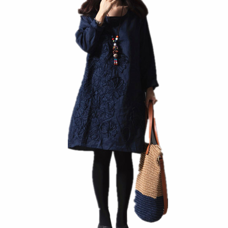 Women's Dresses 2015 Fall Winter Fashion Cotton Embroidery Casual Dress Elegant Loose Tops Long Sleeve Plus Size Clothing(China (Mainland))