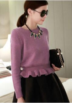 2014 winter new fashion Korean flounced hem rabbit hair sweater hedging knitted short women sweater 5 colours 10.30-118(China (Mainland))