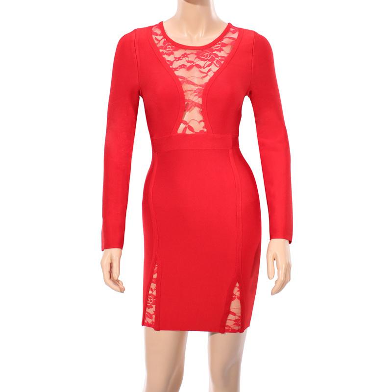 'CONNA' RED LACE LONGSLEEVE BANDAGE DRESS - Bandage Dresses store