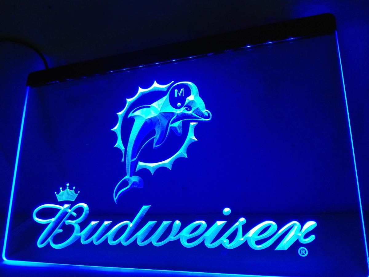 LD297- Miami Dolphins Budweiser Bar LED Neon Light Sign(China (Mainland))