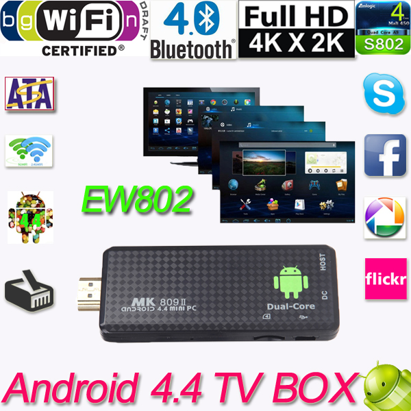 WiFi 4K TV Dongle MK809II Android 4.4 TV Stick XBMC DLNA RK3066 Quad-Core 1G/8G Full HD Mini PC H.265 Android TV Dongle Airplay