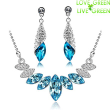 jewelry sets Wedding Bridal 18K Platinum plated Austrian Crystal water drop Pendant Necklace Earrings Jewelry Sets 44293(China (Mainland))