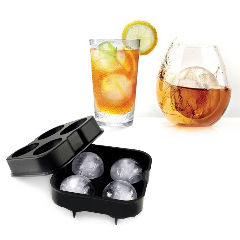 Whiskey Cocktail Ice Cube Ball 4 Large Sphere Mold Silicone Ice Ball Maker Large Ice Ball Cube Mold Maker(China (Mainland))