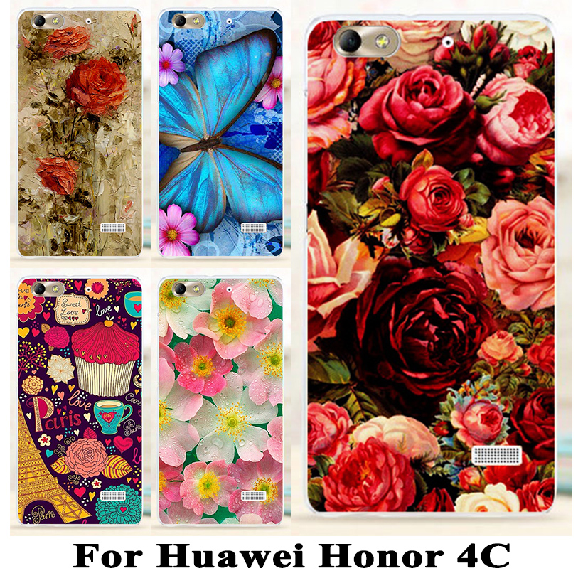 Hard Plastic Flower Mobile Phone Case For Huawei Honor 4c Case For Huawei G Play Mini Honor4c C8818 Phone Case Cover Shell(China (Mainland))